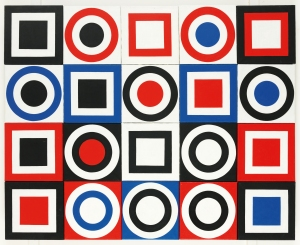 Brian Rice Circle Square x 20, 1963 Oil on twenty canvases 88.9 x 114.3 cm Copyright Brian Rice, courtesy of The Redfern Gallery