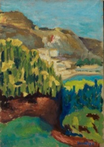 Eardley Knollys Cap Martin from Churchill's Garden oil on board 10 x 7 in (25 x 18 cm)