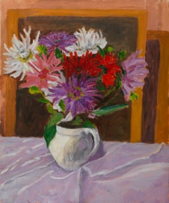 Eardley Knollys Dahlias oil on canvas 61 x  51 cm (24 x 20 1⁄8 in)