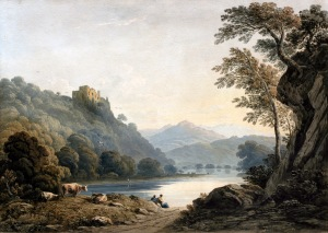JOHN VARLEY, OWS (1778-1842) BERRY POMEROY CASTLE, DEVONSHIRE SIGNED WATERCOLOUR 14 1/4 X 20 INCHES