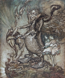 ARTHUR RACKHAM, VPRWS (1867-1939) THE FISH KING AND THE DOG FISH: ITS HEAD WAS PATTED GRACIOUSLY SIGNED AND DATED 04 PEN INK AND WATERCOLOUR WITH BODYCOLOUR 10 3/4 X 9 INCHES PROVENANCE: ALEXANDER MANN, AND BY DESCENT TO LADY PICKTHORNE