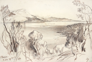EDWARD LEAR (1812-1888) ST HOSPICE INSCRIBED WITH TITLE AND '39' AND DATED '11AM 29 MARCH 1868' SIGNED AND INSCRIBED WITH COLUMNS OF FIGURES ON REVERSE PEN INK AND PENCIL 7 1/2 X 10 3/4 INCHES
