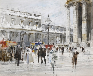WILLIAM WALCOT, RBA RE (1874-1943) THE ROYAL EXCHANGE, LONDON SIGNED WATERCOLOUR WITH PENCIL AND BODYCOLOUR 7 3/4 X 9 1/2 INCHES