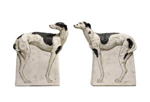 Long Dog I (left), 45 x 42.5 x 10.5cm; Long Dog II (right), 45 x 38.5 x 9.5cm Ceramic