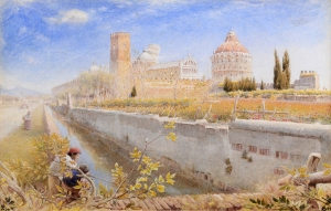ALBERT GOODWIN, RWS (P1I8S4A5-1932) SIGNED WITH MONOGRAM, INSCRIBED WITH TITLE AND DATED 89 WATERCOLOUR ON BOARD 8 3/4 X 13 1/2 INCHES