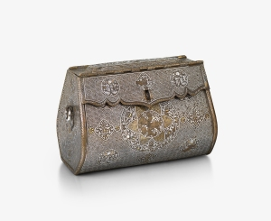 Bag, Mosul , northern Iraq , 1300-1330   Brass, inlaid with gold and silver   Height: 15.2 cm; width: 22 cm; depth: 13.5 cm   © The Courtauld Gallery, London