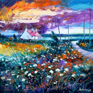 A Gigha croftscape storm passing.  oil on canvas  24 x 24 ins. £4000