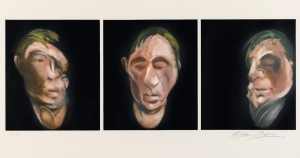 Francis Bacon Three Studies for a Self Portrait, 1983 Lithograph on Arches paper, 1990 94.5 X 52cm Signed and numbered from the edition of 60. Published by Michel Archimbaud for the Librairie Séguier, Paris and printed by Art Estampe, Paris Courtesy: Winwood Gallery