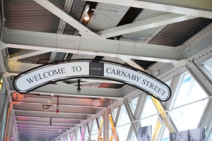 Carnaby Street sign at 'The Sixties' exhibition at Tower Bridge