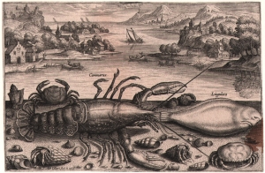Adriaen Collaert, c.1560-1618 Lobster, sole, crabs and hermit crabs against a coastal background Engraving from the series Piscium Vivae Icones, 24 plates, FIRST edition, 1598 Courtesy: Christopher Mendez