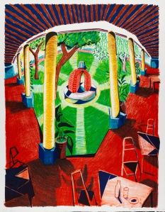 "David Hockney,  Views of Hotel Well III, 1984-85,  Lithograph, 48 1/2"" x 38 1/2"" Edition: 80,  © David Hockney / Tyler Graphics Ltd., Photo Credit: Richard Schmidt"