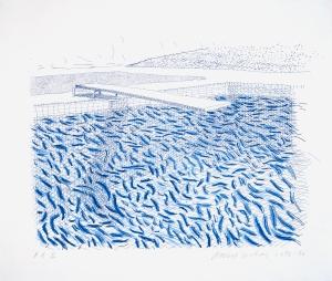 """David Hockney,  Lithographic Water Made Of Lines And Crayon (Pool II-B) 1978-80,  Lithograph, 29 1/4"""" x 34"""", Edition: 42  © David Hockney / Tyler Graphics Ltd."""