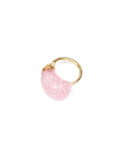 ROSE QUARTZ AND DIAMOND ROSE BUD RING  GURMIT CAMPBELL