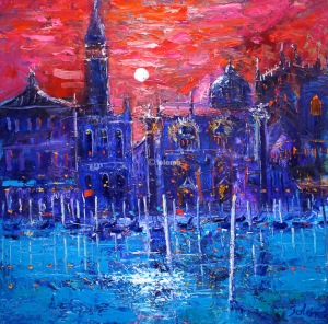 Night falls on St. Mark's Square Venice.  oil on canvas.  30 x 30 ins.  £6000