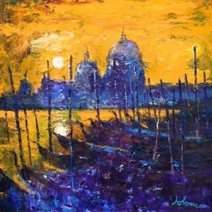 Night falls on the Lagoon Venice.  oil on canvas.  24 x 24 ins.  £4500