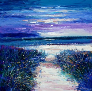 Path to Machrihanish Kintyre.  oil on canvas.  24 x 24 ins. £4500