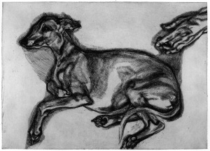 Lucian Freud,  Pluto aged Twelve, 2000,  etching,  plate size: 43.5 x 59.7 cm Courtesy of Marlborough Fine Art