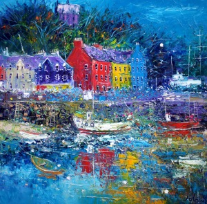 Soft evening gloaming over Tobermory Isle of Mull.  oil on canvas  30 x 30 ins.  £6000