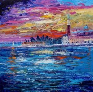 Sunset on the Lagoon Venice.  oil on canvas.  36 x 36 ins.  £8500
