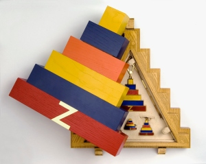 "Didier ltd ""Ziggurat"", 18ct gold and enamel pendant necklace, earrings and ring, in unique fitted painted wood box, 1968, Joe Tilson (UK, b. 1928)"