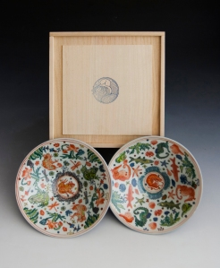 """Painted Bowls"" by Roger Law. A pair of painted porcelain bowls and their wooden box. 6.5cm x 21 cm"