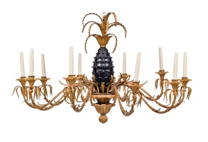 Lot 36,  SIBYL COLEFAX & JOHN FOWLER, 39 BROOK STREET, MAYFAIR A giltwood and parcel-gilt tole ten-branch chandelier, mid-20th century Estimate: £2,000-3,000