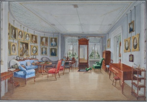 Danish School c.1835 Elaborate drawing room interior with family portraits Watercolour with gouache CHARLES PLANTE FINE ARTS