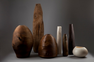 Ernst Gamperl, Group, Dimensions Variable, Oak and Maple wood, courtesy Sarah Myerscough Gallery