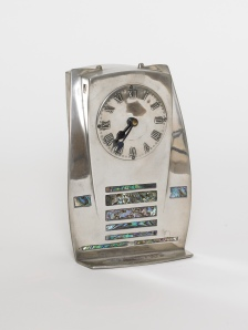 Archibald Knox  Tudric pewter and mother of  pearl clock Liberty & Co_c. 1902