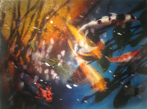 David Kessler ( USA ) Reflections over Koi Acrylic and resin on abraded aluminium on wood 91.5 x 122 cm