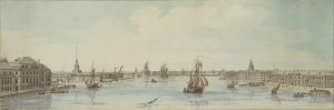 Louis-Nicolas de Lespinasse (1734-1808) View of the banks of the river Neva facing downstream between the Winter Palace of Her Imperial Majesty and the buildings of the Academy of Sciences Pen, grey and brown ink, watercolour and gouache over pencil, 217 x 648 mm Didier Aaron Ltd