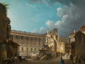 Pierre-Antoine Demachy (1723-1807) Clearing the Area in Front of the Louvre Colonnade, View taken from the Ruins of the Hotel du Petit Bourbon, c. 1764 Oil on panel, 49 x 64 cm Deborah Gage (Works of Art) Ltd