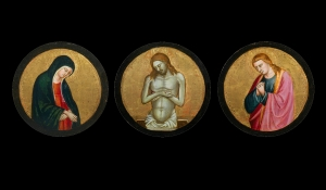 Bicci di Lorenzo (1373-1452) Three Roundels: Virgin Mary, Christ as Ecce Homo and Saint John the Baptist Tempera and gold on panel Diameter of each: 24 cm Moretti Fine Art