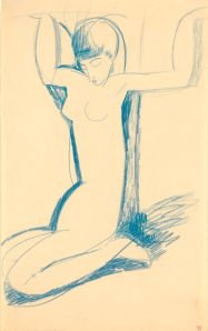 Amedeo Modigliani (1884-1920) Kneeling Blue Caryatid, c. 1911 Blue crayon, 430 x 265 mm Richard Nathanson