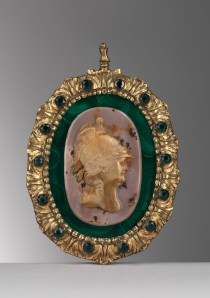 Attributed to the Grand Duchess Maria Feodorovna Portrait of Catherine the Great as Minerva Saint Petersburg, last quarter of the 18th century, cameo in jasper Cameo: 6.5 x 4.7 cm Overall: 11.5 x 9 cm Trinity Fine Art Ltd, Carlo Orsi and Walter Padovani