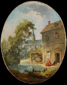 Hubert Robert (1733-1808) Village scene with a lady reading beside a pond Oil on oval canvas, 43 x 34 cm William Thuillier