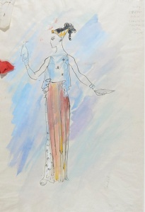 LOT 73  SIR CECIL BEATON  (BRITISH, 1903-1980)  AR  RHODOPE  inscribed extensively; watercolour over pen and ink with material sample  42cm x 28cm; 23 3/4in x 19 3/4in  Provenance: the Cecil Beaton Studio Sale, Christie's.  Estimate: £600 - £800  Time Left: Closes (8 July 2014 3:12:00 PM)
