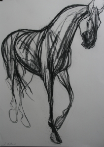 Jo Taylor Black Horse Charcoal 33 x 21 inches
