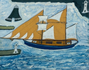 Alfred Wallis The Blue Ship c.1934 Oil paint on board on wood support: 438 x 559 mm frame: 528 x 646 x 46 mm Tate ©