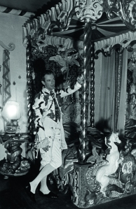 Cecil Beaton in his first costume of the night for the Fete Champetre, in his Circus bedroom, 10 July 1937, Ashcombe © Getty Images/ Time Life