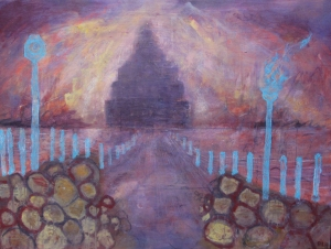 """City Lights: Return to Babylon"" By Dan Llywelyn Hall oil on canvas 90x122cms Price: £6,200"