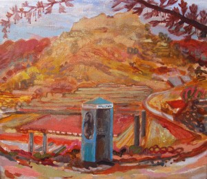 """Forty Minutes at the Phone Box"" Acrylic on canvas 30 x 35cms Price: £1,800"
