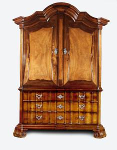 ROELL FINE ART A cabinet, Cape of Good Hope, last quarter 18th century. Stinkwood, amboyna, satin wood, oak and pine with original silver escutcheons and handles by Daniel Heinrich Schmidt (1741-1811) Height: 255 cm, width: 180 cm, depth: 75 cm.
