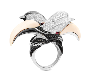 Tomasz Donocik – 'Courtship of the Hornbill' ring in 18ct rose gold with rubies, yellow, black and white diamonds