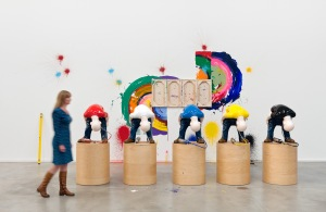 Pain-t 2012 – 2014 Group of 5 sculptures; fibreglass, acrylic paint, wood, air tanks 142 x 61 x 61 cm / 55 7/8 x 24 x 24 in each (incl. plinth) Installation view, 'Richard Jackson. New Paintings', Hauser & Wirth, London, England, 2014   © Richard Jackson Courtesy the artist and Hauser & Wirth Photo: Alex Delfanne