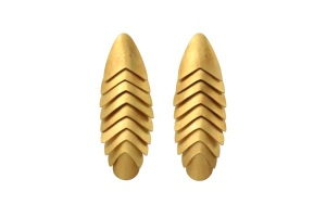 Articulated Earrings by John Moore, 18ct gold & silicone, 2014