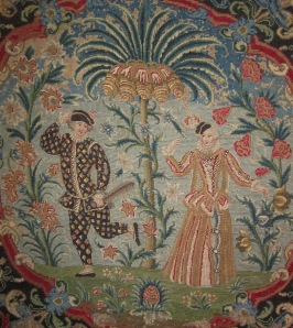 "PETA SMYTH ANTIQUE TEXTILES A French needlework panel Harlequin & Clumbine C. 1720 – 1740 32 ½ "" x 23"" (82.5cm x 65.5cm) Framed"