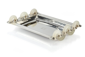 The Silver Fund Jean E. Puiforcat Tray Sterling silver and white onyx. Mexico circa 1943.