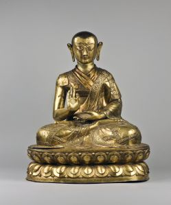 A & J Speelman A gilt copper repoussé portrait of Tibetan monk Tsugla Gyatso 西藏喇嘛 Tsugla Gyatso 肖像 1568-1633AD, Tibet 1568-1633, 西藏 Height: 64 x Width: 50 x Depth 35 cm