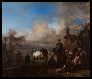 Philips Wouwerman; Dutch; b.1619, d.1668, A Hawking Party Resting outside an Inn, 1655-57; oil on panel; 362 x 413; Waddesdon, The Rothschild Collection (The National Trust) Bequest of James de Rothschild, 1957; accession number 2567. Photo: Mike Fear © The National Trust, Waddesdon Manor